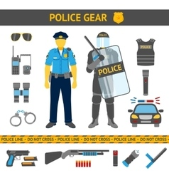 Set of Police icons - gear car weapons two vector