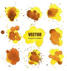 set of splash yellow watercolor splash vector image