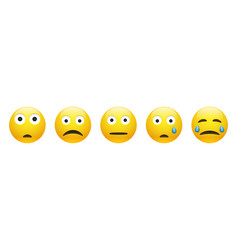 Set sad astonished neutral and crying face vector