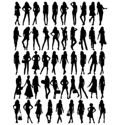 Silhouettes of young pretty women vector image