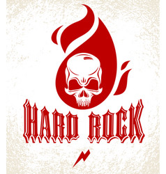 skull in a flames hard rock music logo or emblem vector image
