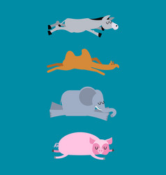 sleeping animals set 4 donkey and elephant camel vector image