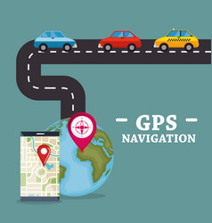 smartphone with gps navigation app vector image