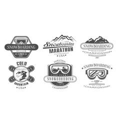 snowboarding championship marathon retro logo vector image