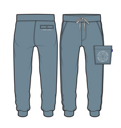 Sport pants with side patch pocket vector