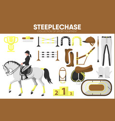 steeplechase sport equipment horse racing rider vector image