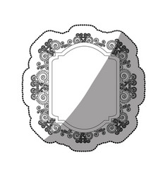 Sticker monochrome curved rectangle heraldic vector