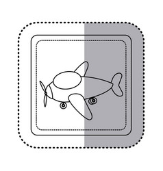 Sticker silhouette square button cartoon airplane vector