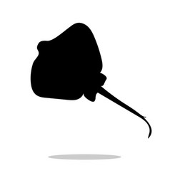 stingray fish black silhouette aquatic animal vector image