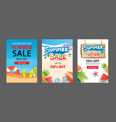 summer sale banner templates paper art and craft vector image