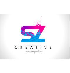 sz s z letter logo with shattered broken blue vector image