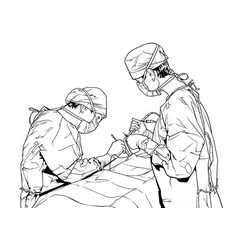 team doctors in the operating room vector image