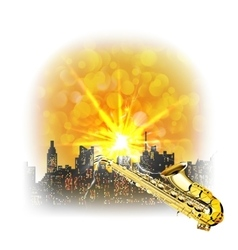 Urban landscape with a bright flash and saxophone vector