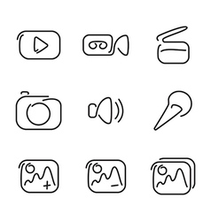 Video and multimedia set icons vector