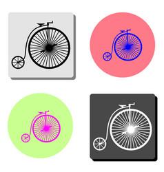 vintage bicycle flat icon vector image