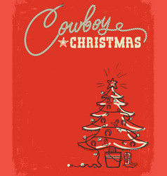 Western red christmas card with cowboy christmas vector