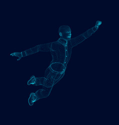 wireframe of a polygonal man flies raising his vector image