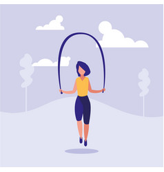 woman practicing rope jump character vector image