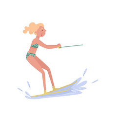 Woman riding waterski extreme water sport cartoon vector
