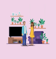 Young couple on the livingroom vector