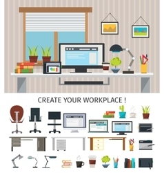 Create Interior Workplace Concept vector image vector image