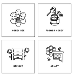 Honey bees honeycomb logos template set vector image