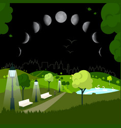 night city park with moon phases on sky vector image vector image