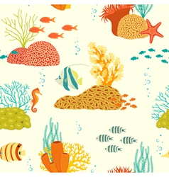 Underwater life pattern on light background vector image
