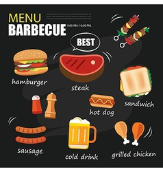 Barbecue menu party bbq invitation template menu vector