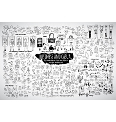 Big bundle business casual doodles icons and vector image