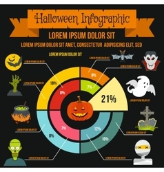 Halloween infographic elements flat style vector image vector image