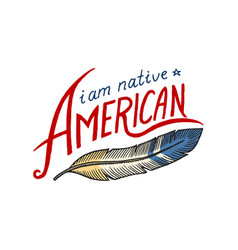 native american flag old labels or badges vector image vector image