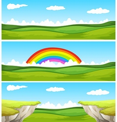 Three nature scene with field and cliff vector image vector image