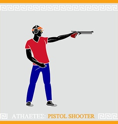 Athlete pistol shooter vector