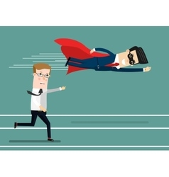 Businessman superhero fly pass his competitor vector image