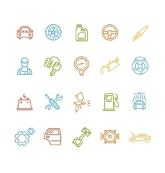 Car Service Outline Colorful Icons Set vector image vector image