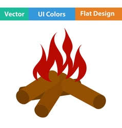 Flat design icon of camping fire vector image