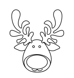 silhouette cartoon funny face reindeer animal vector image vector image