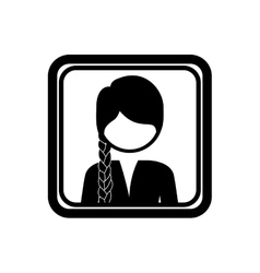Square border with silhouette half body woman with vector