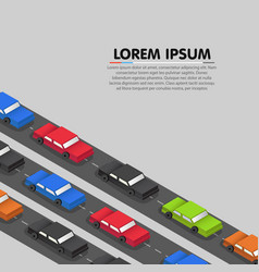 cars standing in a traffic jam vector image
