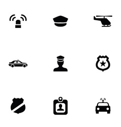 police 9 icons set vector image vector image