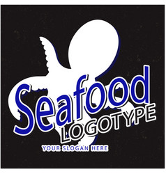 seafood logotype squid black background ima vector image vector image