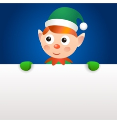 Smiling elf holding blank page vector image vector image