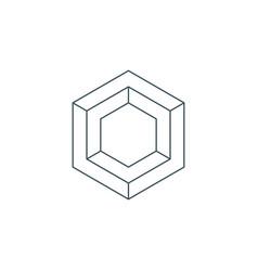 thin line hexagon symbol vector image vector image