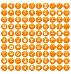 100 oppression icons set orange vector image vector image
