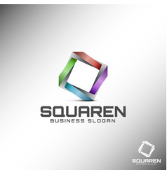 abstract 3d square logo template vector image