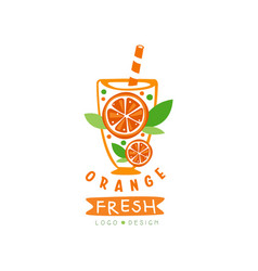 abstract juice label with slices of juicy orange vector image