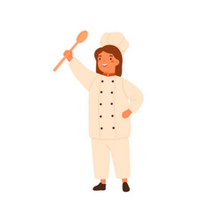 adorable little chef portrait cute girl in cook vector image
