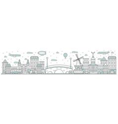 Amsterdam skyline line cityscape vector