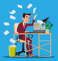 angry manager siting at table crumples the paper vector image